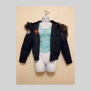 Juicy Couture zipped faux fur cropped parka jacket